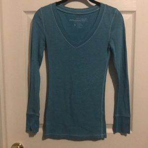 Blue V neck long Sleeve Shirt